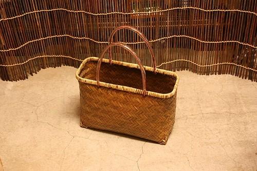 塗竹の手提げ網代編みかごバッグ