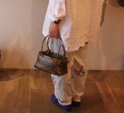 竹透かし編みかごバッグ 緑布