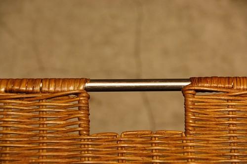 ラタン薄型角バスケット