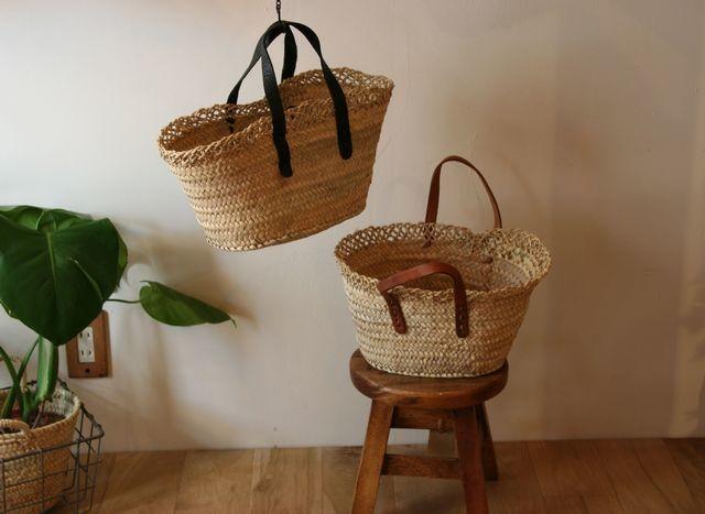 平革手の縁レース編みマルシェバスケット