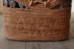 アタの内布付きリングハンドルかごバッグ