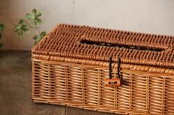 籐製のラタンふた付きティッシュボックスバスケット