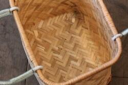 竹のあじろ編み手付きかご