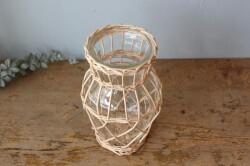 柳とガラスのポット型フラワーベース