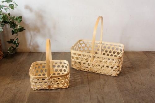 ワンハンドル角型竹かご