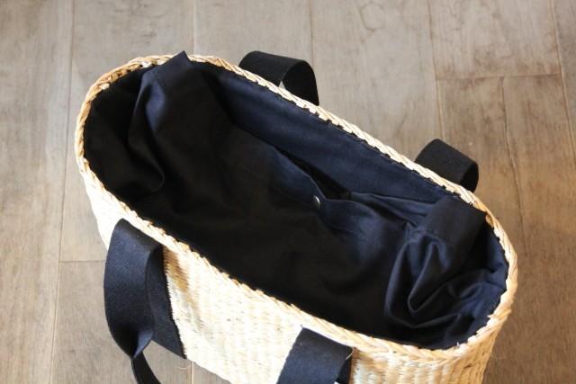 シーグラスのベルティングかごバッグのオーバル型