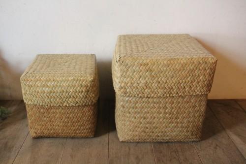 カチュー水草で編んだキューブボックスバスケット