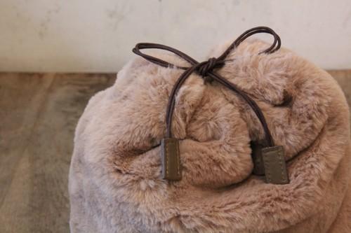アラログファー巾着付き透かし編みかごバッグ