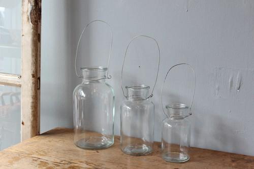 ワイヤーハンギングガラスフラワーベース