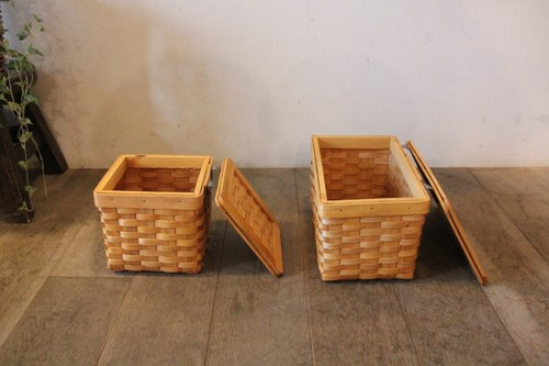 水杉のフタ付き収納ボックス