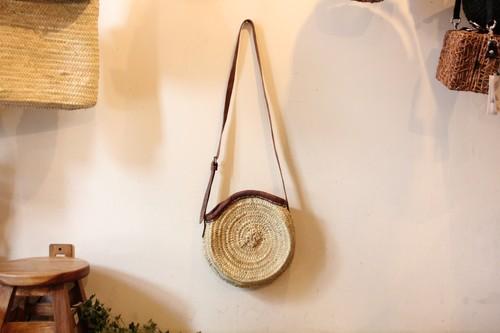 椰子のサークルショルダーかごバッグ