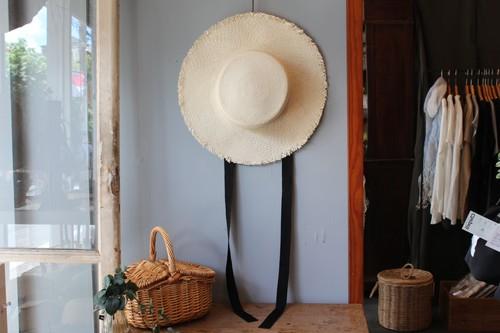 ラフィアのグログランリボンカンカン帽