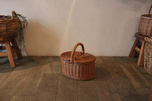 籐ラタンのワンハンドルピクニックバスケット