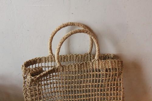 シーグラスの透かし編みトートかごバッグ