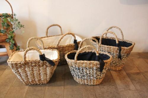 タイパとジュートで編まれたオーバルかごバッグ