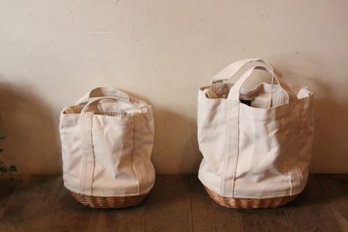 柳とキャンバス地の2wayかごバッグ