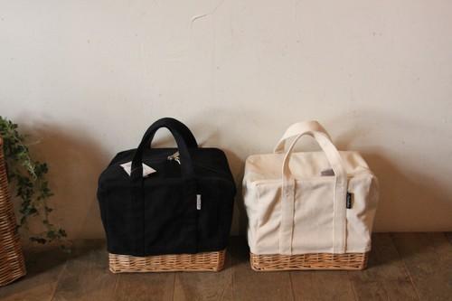 柳とキャンバス地の保冷かごバッグ