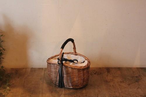 柳のレザーハンドルかごバッグ