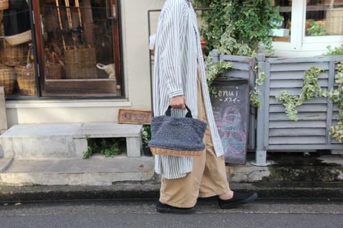 柳とボアのトートかごバッグ