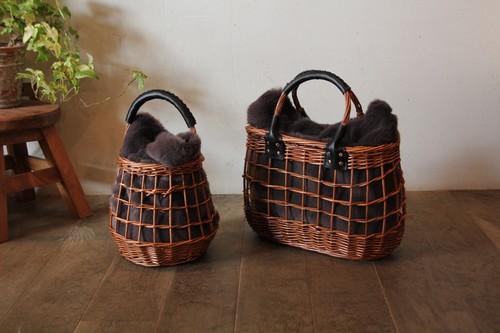 柳とファーのラティス編みオーバルかごバッグ