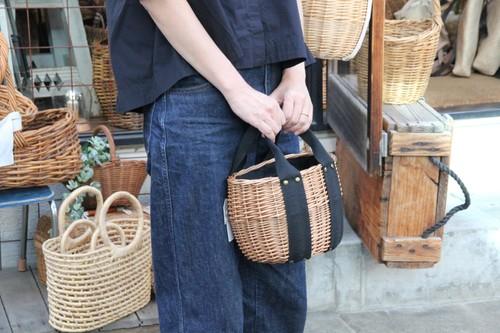 柳のコットンハンドルかごバッグ