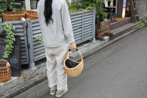 柳のシェル型レザーワンハンドルかごバッグ