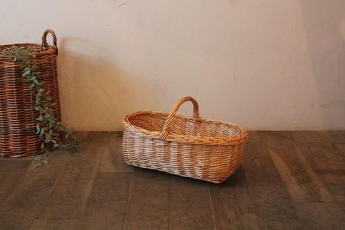 柳のワンハンドル横長かごバッグ