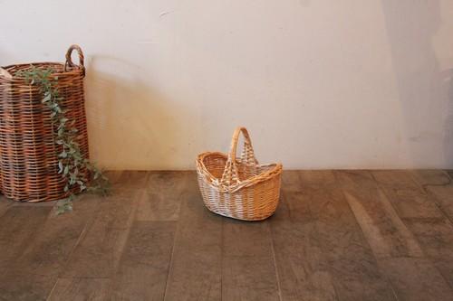 柳のワンハンドルミニボートかごバッグ